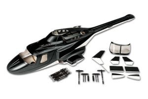 Bell 222 Fiberglass Scale Body, Black with Gear (450-Size) Licensed Bell Helicopter Product