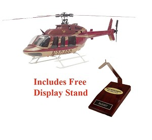 Desk Display: Bell 407 Red and Gold Super Scale Helicopter Static Version
