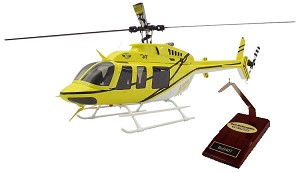 Desk Display: Bell 407 Black and Yellow Super Scale Helicopter Static Version