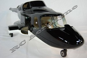 Bell 222 Black Scale Fiberglass Fuselage (500-Size) Licensed Bell Helicopter Product