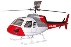 Eurocopter AS350 ( Red/White/Grey/Blk ) Fiberglass Fuselage (500 Size)