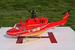 Bell 212 Civilian Red & Gold Scale Fiberglass Fuselage (500-Size) Licensed Bell Helicopter Product