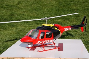 Bell 206 Jet Ranger - TV News Helicopter V2 Scale Fiberglass Fuselage (700-Size) Licensed Bell Helicopter Product