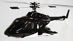 Bell 222 Fiberglass Scale Body, Black (600-Size) Licensed Bell Helicopter Product (With working doors)