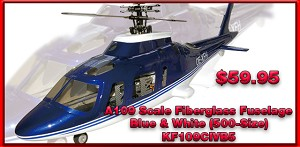 A109 Scale Fiberglass Fuselage - Blue and White 500 Size
