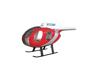 MD500D Fiberglass Scale Body Red Police Version (450-Size)