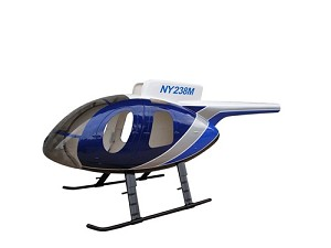MD500E Fiberglass Scale Body Blue Police Version with Working Doors (600-Size)
