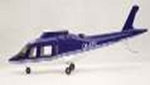A109 Scale Fiberglass Fuselage - Blue and White 600 Size